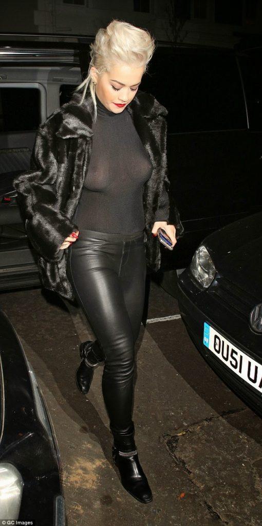 Rita Ora goes BRALESS in a see-through Sheer Black top