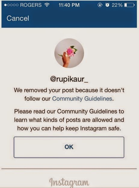 Rupi Kaur's photo was removed by instagram.she then writes a powerful open letter in response