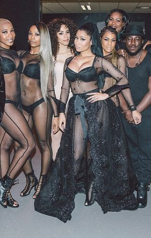 Nicki Minaj shows off curves in sheer performance outfit
