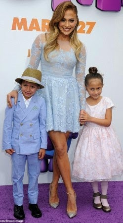 JLo and her  Adorable twin kids at movie premiere Yesterday
