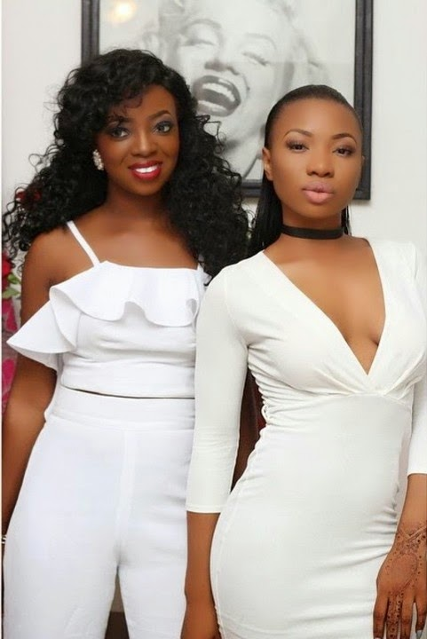Mocheddah in all white cleavage Baring Dress