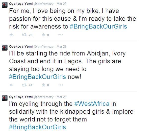 Oyekoya Yemi rides bike from Ivory Coast to Nigeria to create awareness for Chibok girls