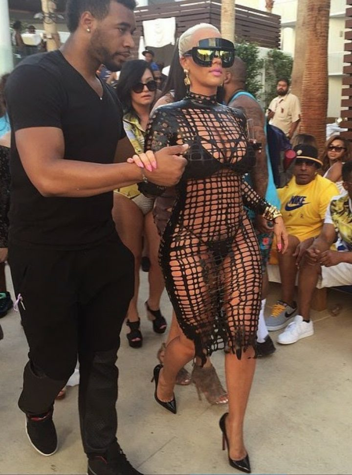 Photos of Amber Rose attends pool party in Vegas in a Mesh outfit