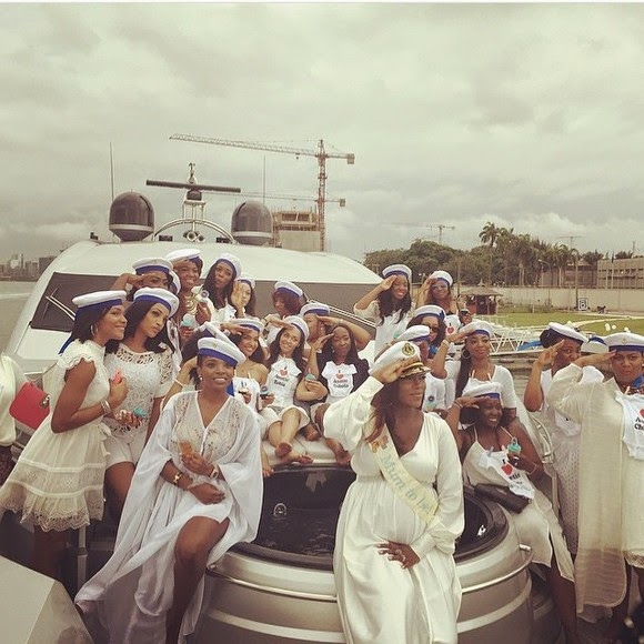 photos from Tiwa Salvage baby shower on Femi Otedola's Yacht