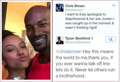 Chris Brown apologises to Tyson Beckford