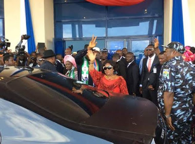 Former Nigerian President,Goodluck Ebele Jonathan and his Wife Patience Arrives Bayelsa