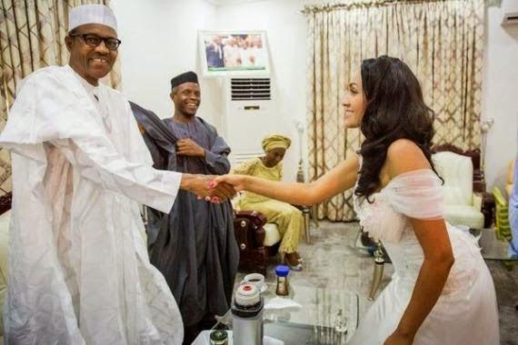 Nigerian Twitter users explodes as debate begins over Buhari and Iara Oshiomole's handshake