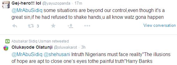 Nigerian Twitter explodes as debate begins over Buhari and Iara Oshiomole's handshake