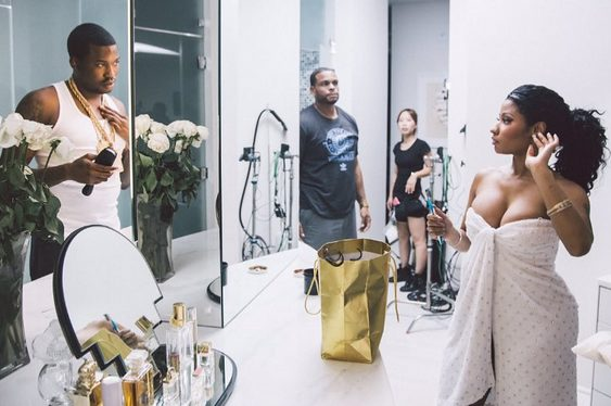 Meek Mill & Nicki Minaj  on set of all eyez on me music video