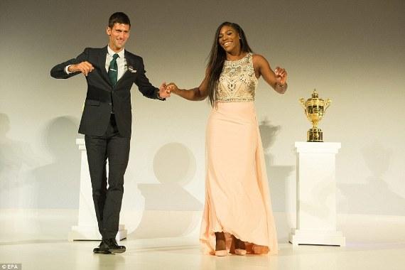 Serena Williams and Novak Djokovic at Wimbledon 2015 Champions Dinner