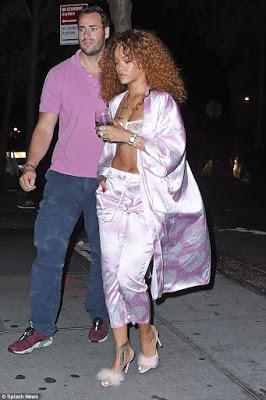 Rihanna wears bra and pink pyjamas to late Night Studio Session