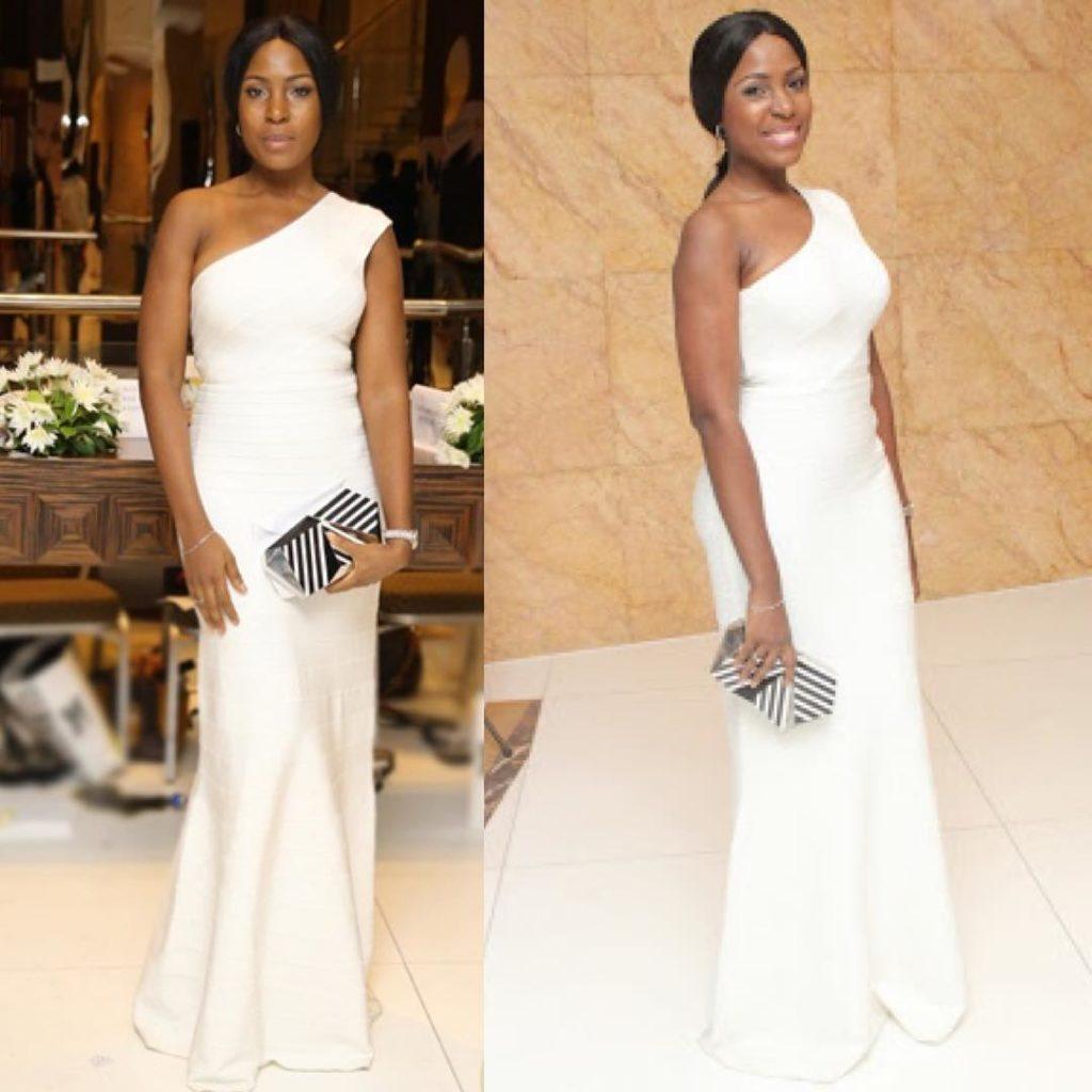 Queen Blogger, Linda Ikeji wears a $1800  herveleger dress to a Wedding