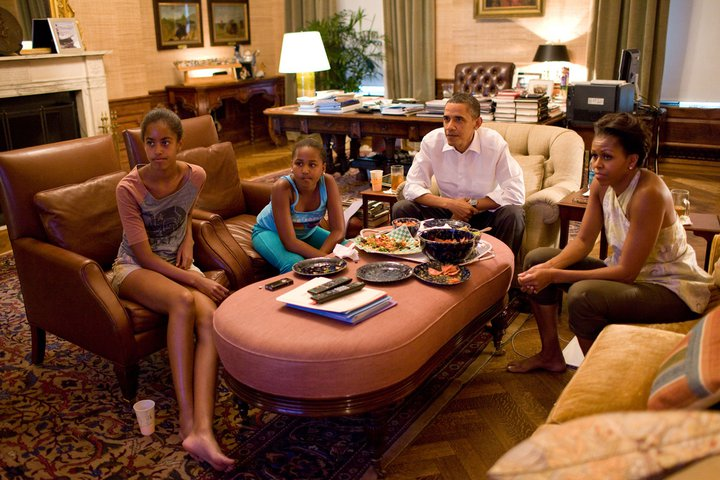 The Obama watching the World Cup women soccer game