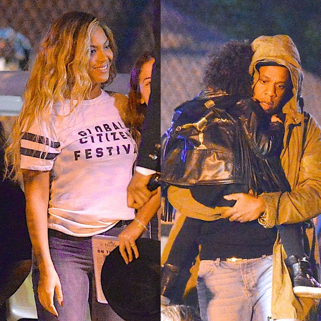 Beyonce, Blue Ivy & Jay Z  exit Global Citizen Festival held in Central Park New York in Style