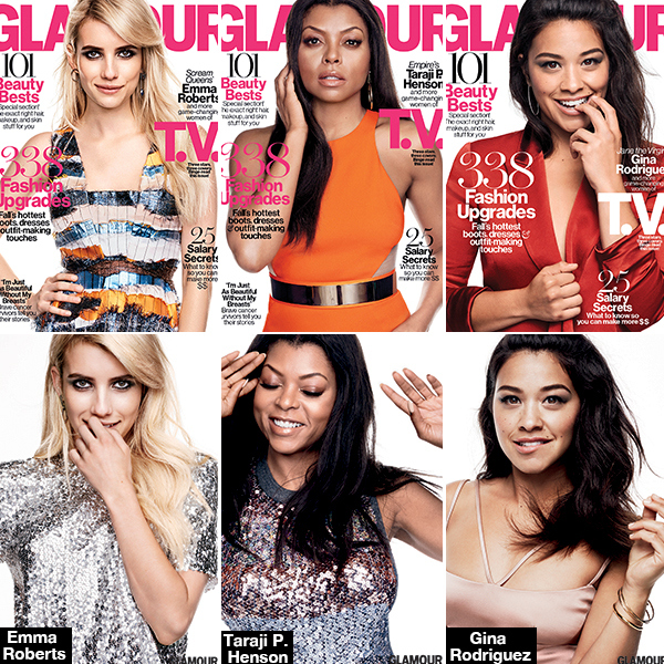 Emma Roberts and Gina Rodriguez on the cover of glamour October magazine issue 2015