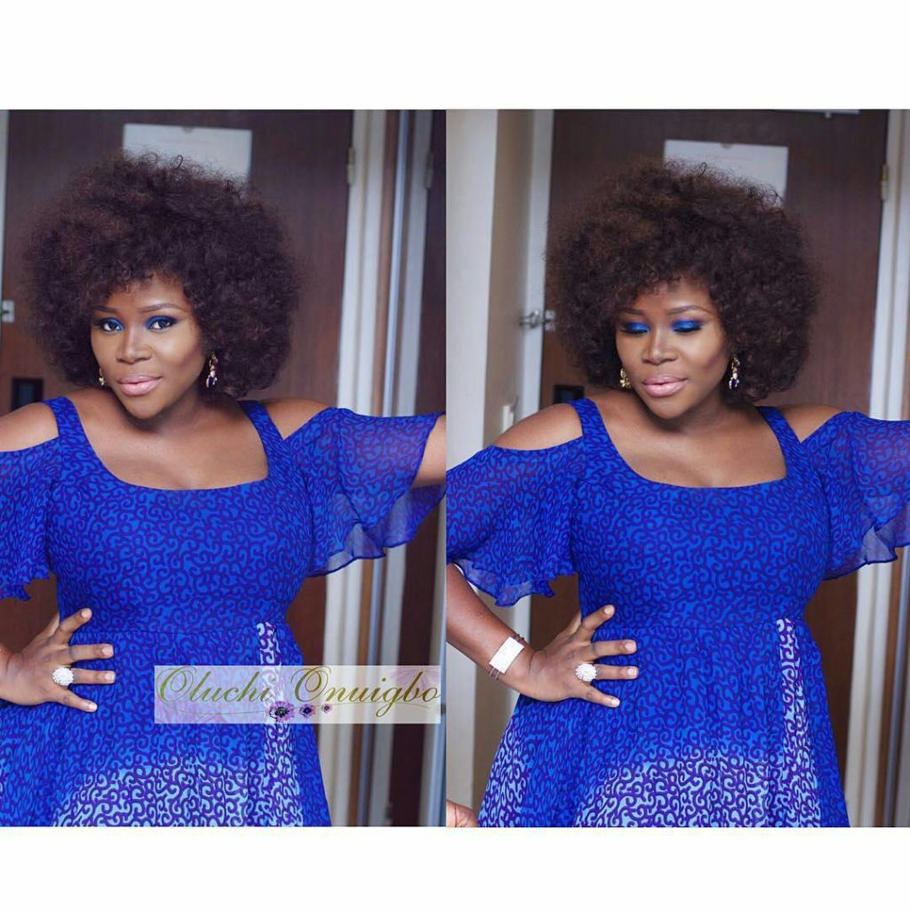 Omawunmi dazzles, sexy and beautiful as she rocks a blue dress  to Perfrom at 2face Idibia Fortified Concert