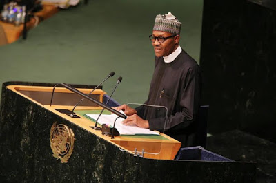 Photos of Buhari addressing the UN General Assembly