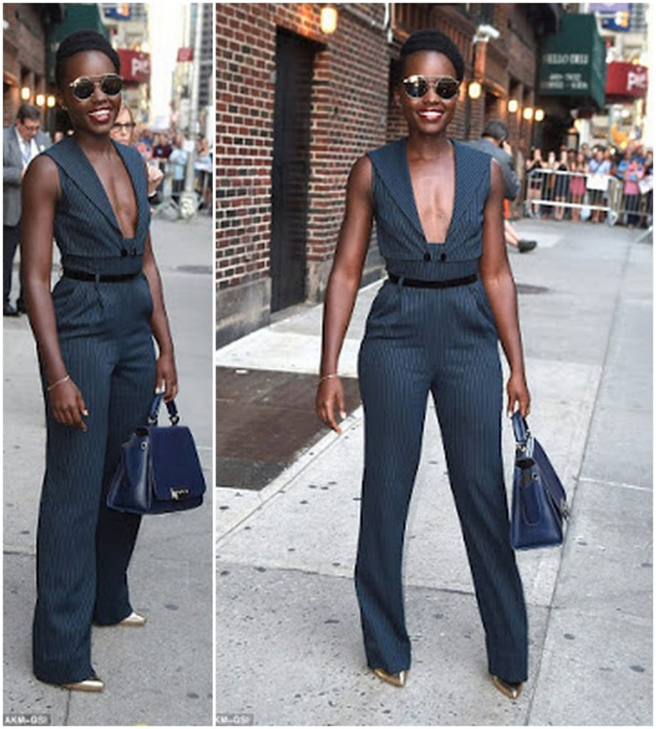Lupita Nyong'o Flawless in plunging Cat Suit in NYC