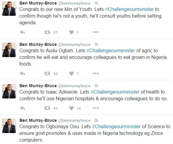 Ben murray Bruce-Don't use your generator for 1 month Fashola,challenges  other ministers