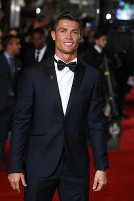 Cristiano Ronaldo and Son on the Red Carpet,at the premiere of his documentary