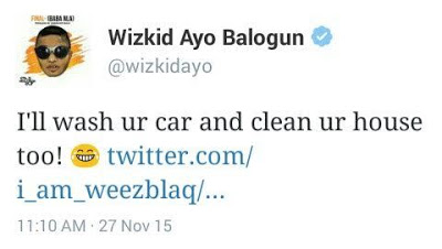 Hilarious Conversation Between Wizkid and A Tweeter User