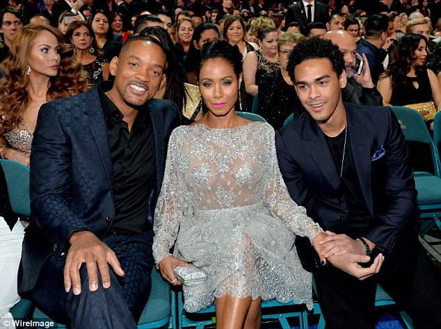 Jada was joined in the star row by her husband and her stepson Trey