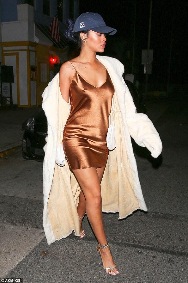 Rihanna Steps out Bra-less for Dinner in a Golden Brown Slip Dress
