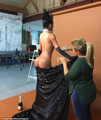 L.A Model,Abigail Ratchford recreates the Wax of the Kim kardashian Paper Pose break the Internet