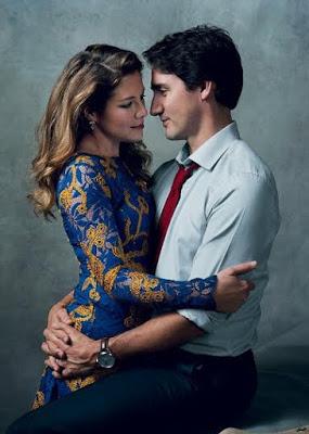 Justin TRudeau and Sophie Gregoire-Trudeau  Pose For Vogue Magazine