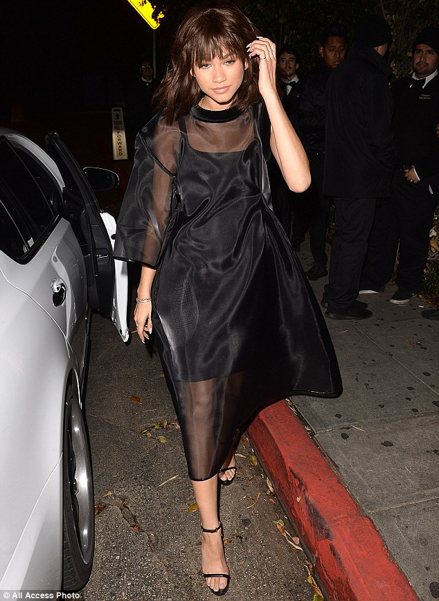 Zendaya Sizzles in Black Sheer See-Through Dress