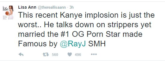Former American PornStar Lisa Ann comes For Kanye West on Twitter, says he Sent Nude Pictures of  Himself to Her
