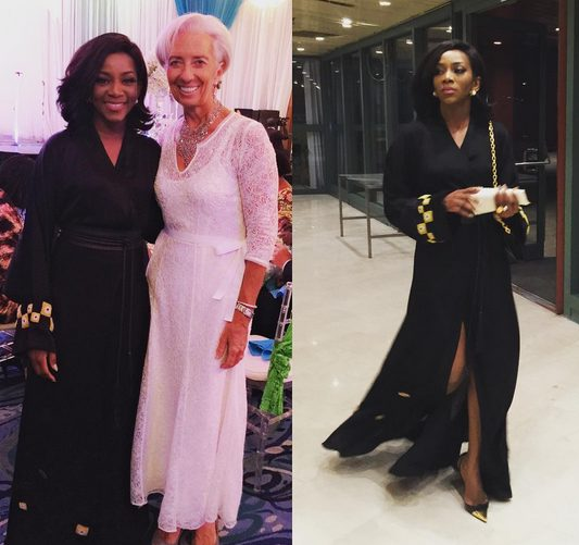Genevieve Nnaji Stunningly Beautiful in Black golden Dress as Attends State Dinner with IMF Boss
