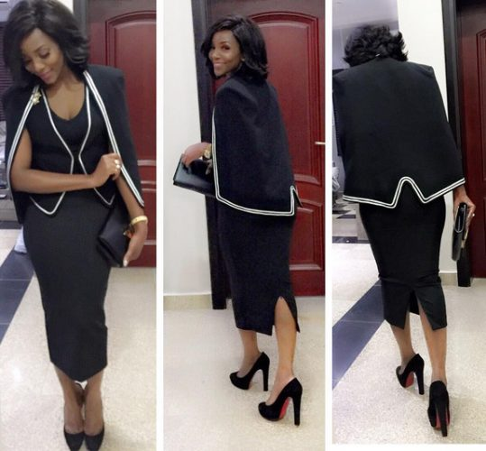 Genevieve shows her Fashionista Side, as she rocks a black Dress and Black High Heeled Shoe to a Meeting with IMF Boss