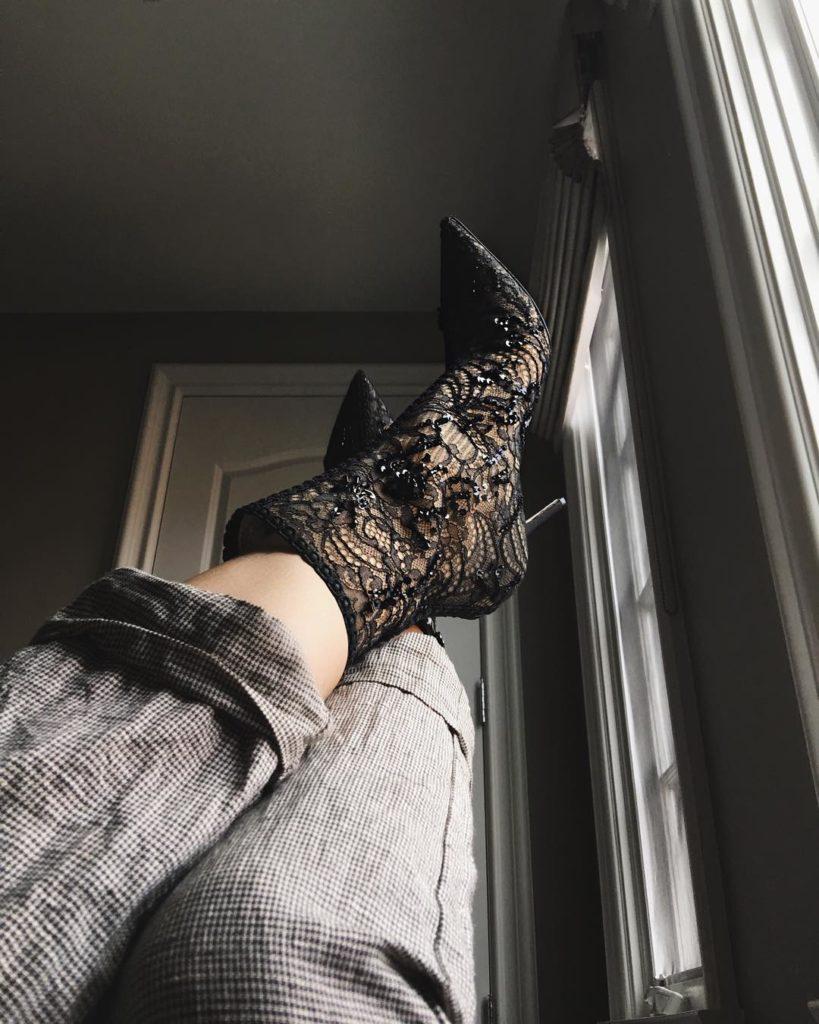 Kylie Jenner rocks Christian Dior Black Netted High Heeled Shoes