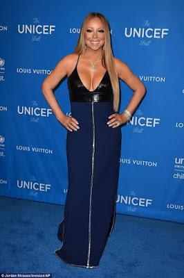 Mariah Carey Display her Big Boobs in a Navy Blue Cleavage Baring Dress at UNICEF gala