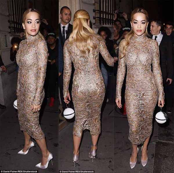 Rita Ora Flaunts Sexy Curves In Brown See-Through Gown