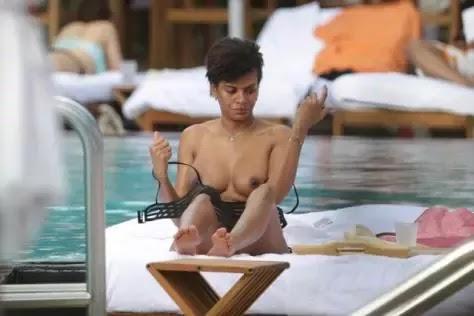 Samuel Eto'o's Wife, Georgette Eto'o Sunbathes Nude By Poolside in America