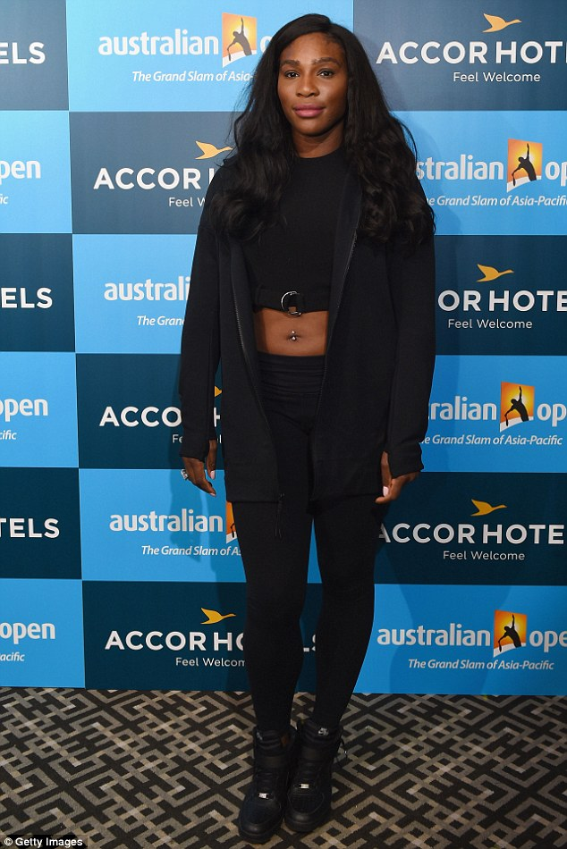Flaunting It! Serena Williams shows off belly button piercing in a crop-top at Australian Open Players Party