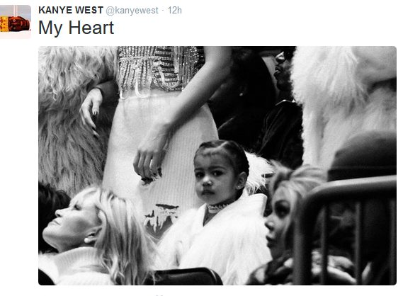 Kanye West shows Praise on his Cute lil Daughter North on his Twitter