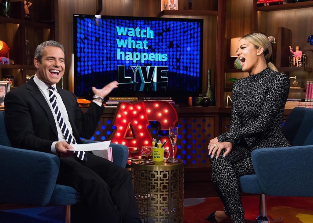 Khloé Kardashian takes a Belfie with Bravo Andy of Watch What Happens Live