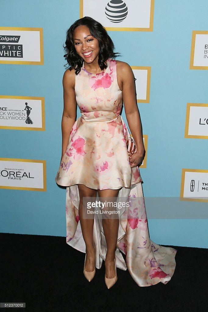Meagan Good Sassy in Pinkish Cream Dress for the red carpet of Essence Black Women In Hollywood