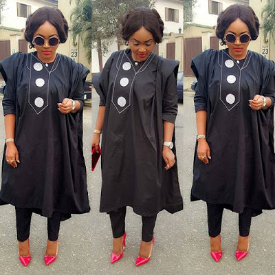 Nollywood Actress, Mercy Aigbe Rocks Female Agbada Designs