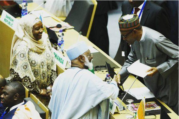 Pres. Buhari with Obasanjo & Abdulsalami Abubakar at The AU Summit in Addis Ababa