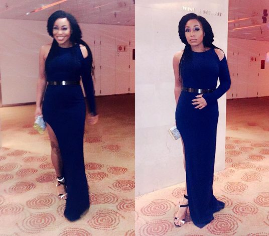 Rita Dominic Sizzles in Blue Gown as she attends Ebuka/Cynthia's Wedding