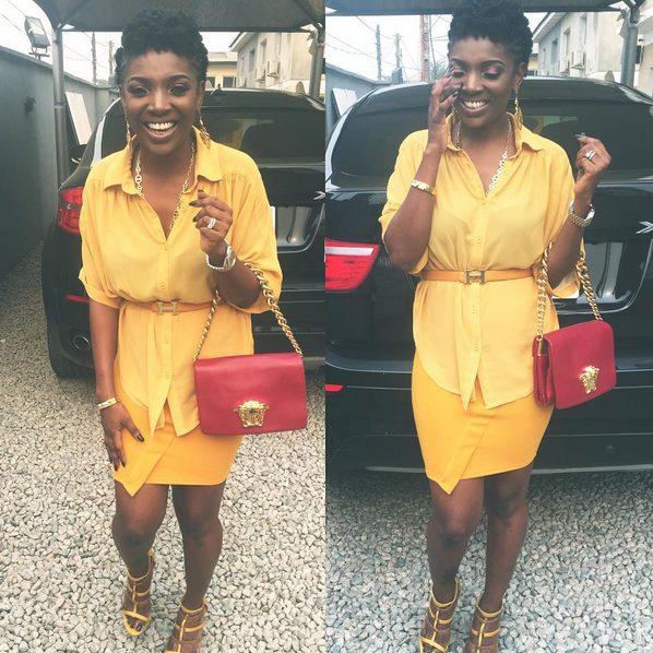Annie Idibia wows in yellow Mustard Dress