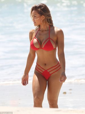 Daphne Joy Hot in Red colored string bikini for vacation in Mexico