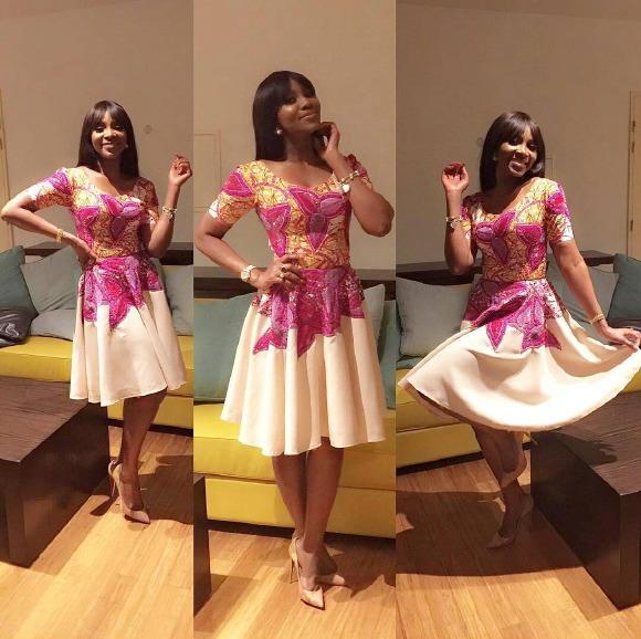 Genevieve Nnaji Dazzling Looks as she  Rocks Ankara Dress Made By Mylady
