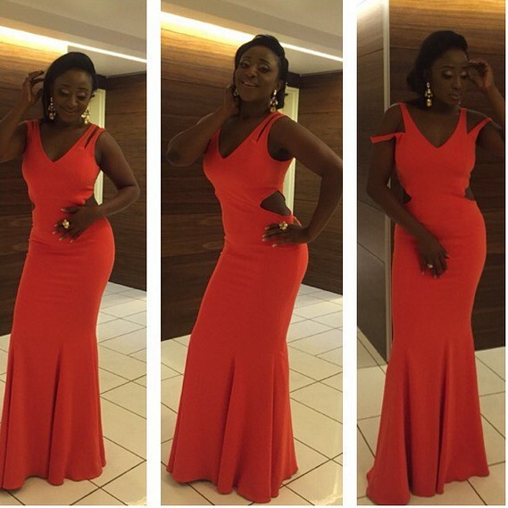 Ini Edo Slays in Orange Cut-Out Dress for 2016 Amstel Malta AMVCA  After Party
