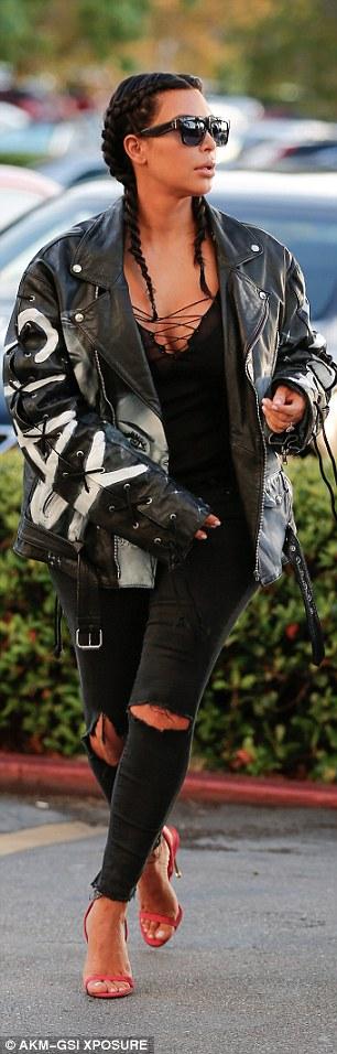 Kim Kardashian Rocks Black Leather Jacket