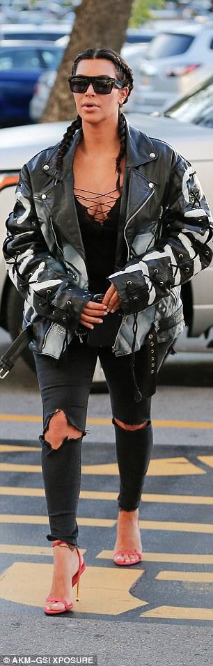 Kim Kardashian Rocks her Custom Leather Jacket